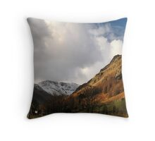 Snow tops and sun shadows Throw Pillow