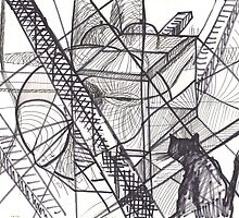 AND THE CAT WANDERS(C2012)(MARKERS.PEN.DRAWING) by Paul Romanowski