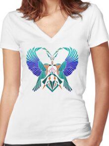 heart of birds Women's Fitted V-Neck T-Shirt