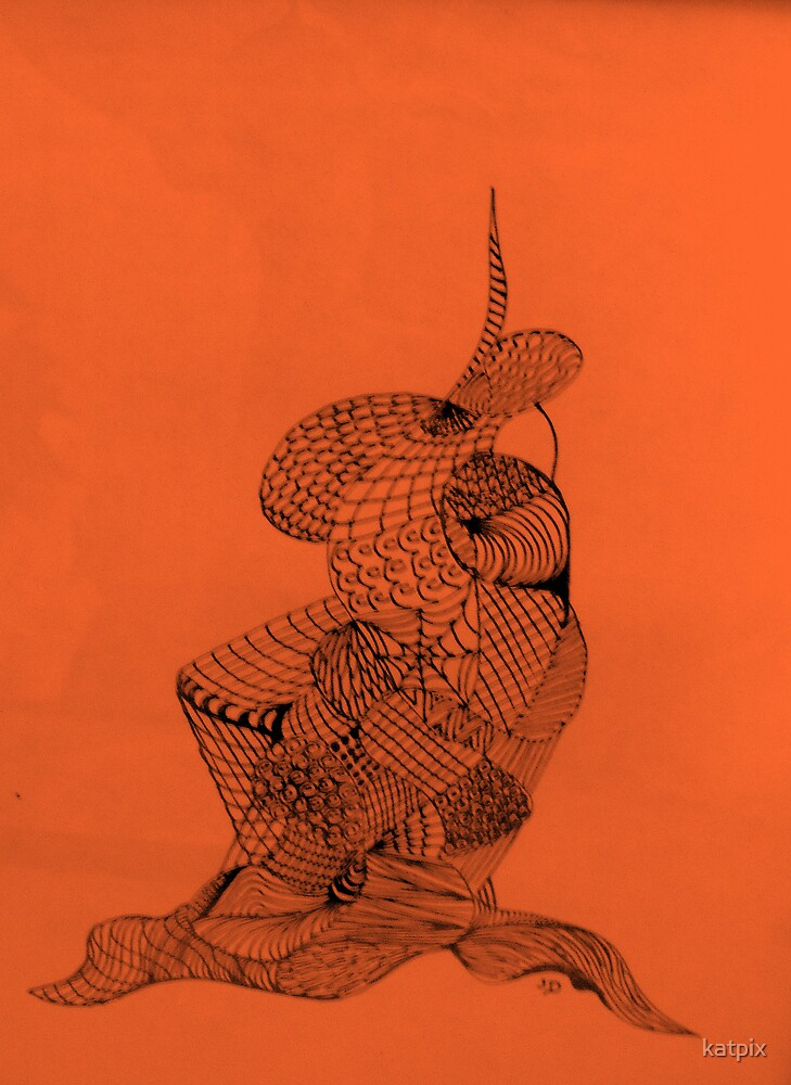 Pen and Ink on Orange by katpix