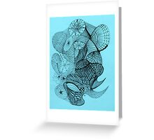 Pen and Ink on Blue Greeting Card