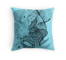Pen and Ink on Blue Throw Pillow
