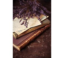 Still life with old books and lavenda Photographic Print