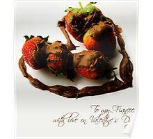 Chocolate Strawberry Valentine's Card - Fiancee Poster