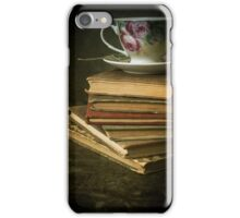 Still life with old books and teacup iPhone Case/Skin