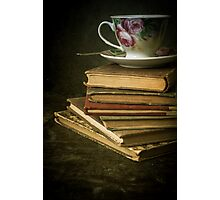 Still life with old books and teacup Photographic Print