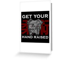 """Get Your Hand Raised"" - Jiu Jitsu Bulldog Greeting Card"