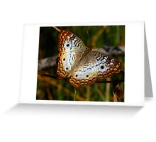 White Peacock Butterfly in Fractalius Greeting Card