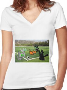 Cats Play Soccer Women's Fitted V-Neck T-Shirt