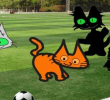 Cats Play Soccer Sticker