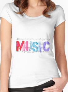 purple MUSIC Women's Fitted Scoop T-Shirt