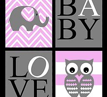Love Baby Elephant and Owl by Shaina Lunde