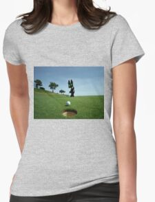 Cat Sinks A Putt Womens Fitted T-Shirt
