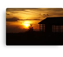 Sunset & Wood Canvas Print