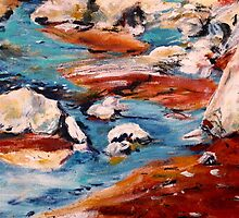 Forrest Moses Interpretation New Mexico acrylics on canvas board by JamesPeart