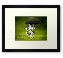Cat In The Rain Framed Print