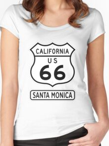 Historic Route 66 - The Mother Road - Santa Monica Women's Fitted Scoop T-Shirt