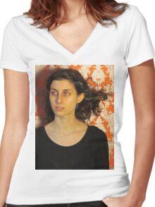Headshot Women's Fitted V-Neck T-Shirt