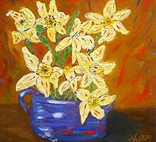 yellow daffodils, southwest art, home decor, original art by artbykatsy