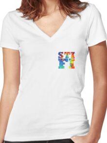 STIFI Sticky Fingers Logo Women's Fitted V-Neck T-Shirt