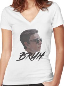 BRUH. Women's Fitted V-Neck T-Shirt