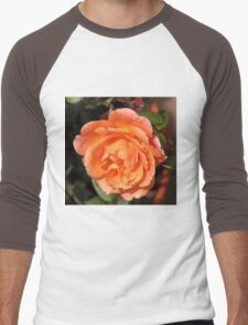 Orange Wildfire - Miniature Rose Men's Baseball ¾ T-Shirt