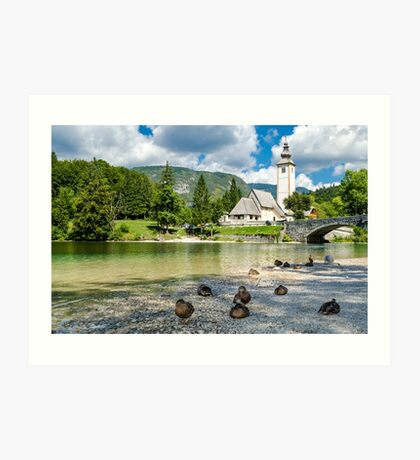 Church of St John the Baptist, Bohinj Lake, Slovenia Art Print