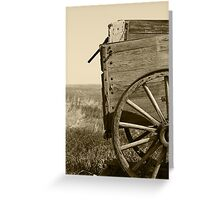 Antique Wooden Wagon in a Field Greeting Card