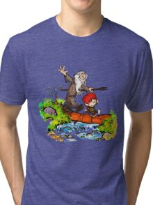 Gandalf and Bilbo calvin hobes Tri-blend T-Shirt