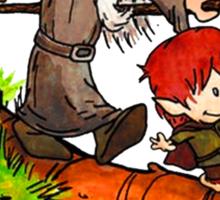 Gandalf and Bilbo calvin hobes Sticker