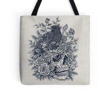 Monochrome Floral Skull Tote Bag
