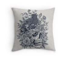 Monochrome Floral Skull Throw Pillow
