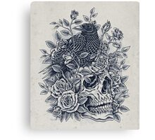 Monochrome Floral Skull Canvas Print