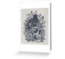 Monochrome Floral Skull Greeting Card