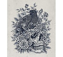 Monochrome Floral Skull Photographic Print
