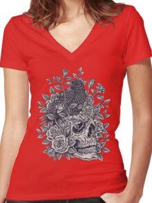 Monochrome Floral Skull Women's Fitted V-Neck T-Shirt