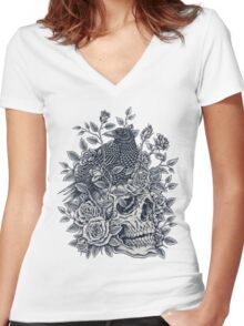 Monochrome Floral Skull Women's Fitted V-Neck T-Shirt