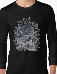 Monochrome Floral Skull Long Sleeve T-Shirt