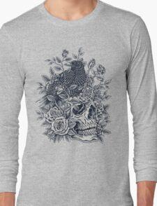 Monochrome Floral Skull Long Sleeve T-Shirt