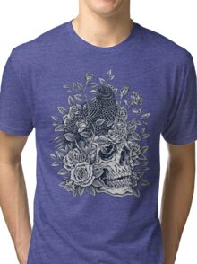 Monochrome Floral Skull Tri-blend T-Shirt