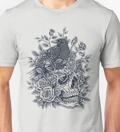 Monochrome Floral Skull Unisex T-Shirt
