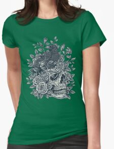 Monochrome Floral Skull Womens Fitted T-Shirt