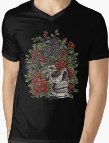 Floral Skull Mens V-Neck T-Shirt