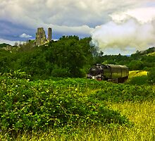 Corfe Castle and the steam train by Robin Allen