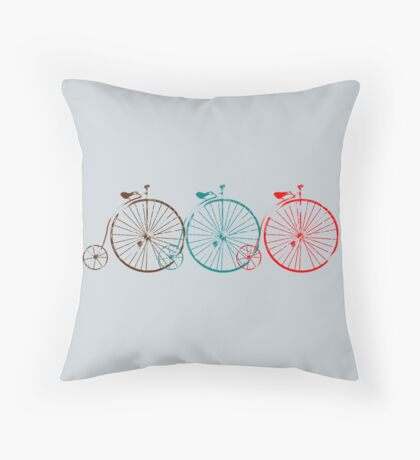 Penny Farthing Old School Bike Throw Pillow