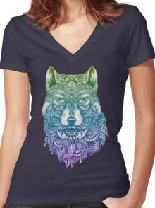 Abstract Wolf Women's Fitted V-Neck T-Shirt