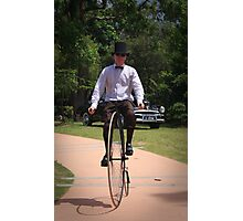 penny farthing man Photographic Print