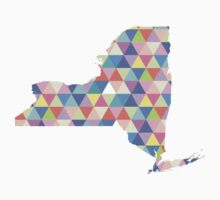 New York Colorful Triangles Hipster NY State Kids Clothes