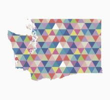 Washington State Colorful Geometric Triangles Kids Tee