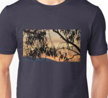 Peachy streaky dawn over Croydon through gum trees. Unisex T-Shirt